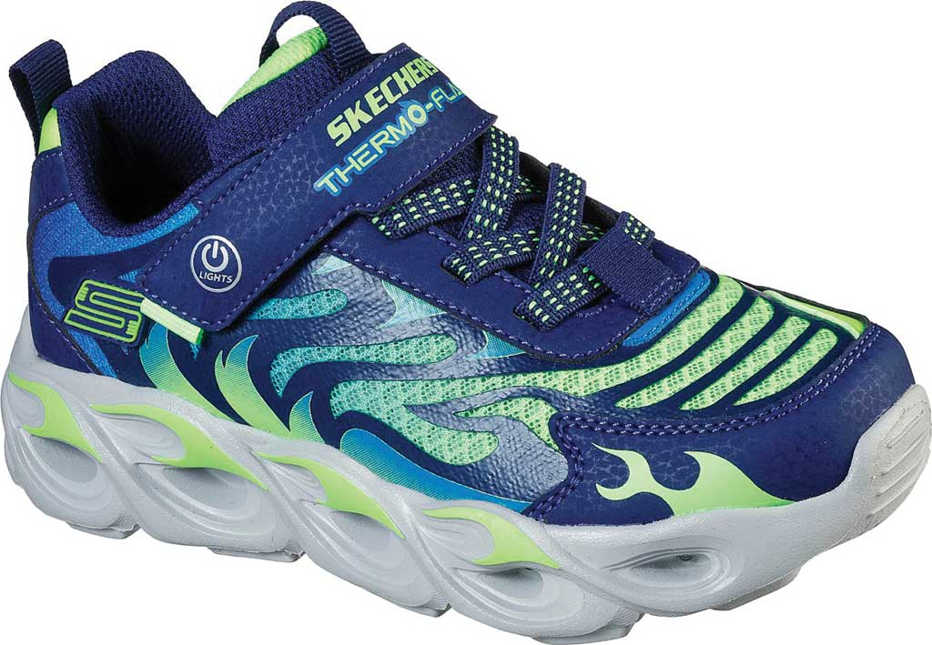 Boys' Skechers S Lights ThermoFlash Sneaker, Navy/Lime, large, image 1