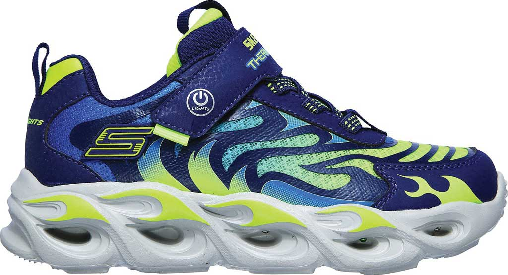 Boys' Skechers S Lights ThermoFlash Sneaker, Navy/Lime, large, image 2