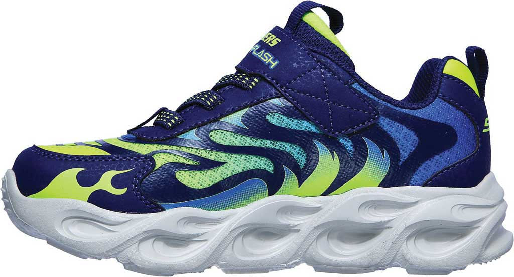 Boys' Skechers S Lights ThermoFlash Sneaker, Navy/Lime, large, image 3
