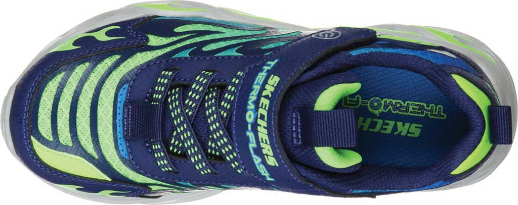 Boys' Skechers S Lights ThermoFlash Sneaker, Navy/Lime, large, image 4