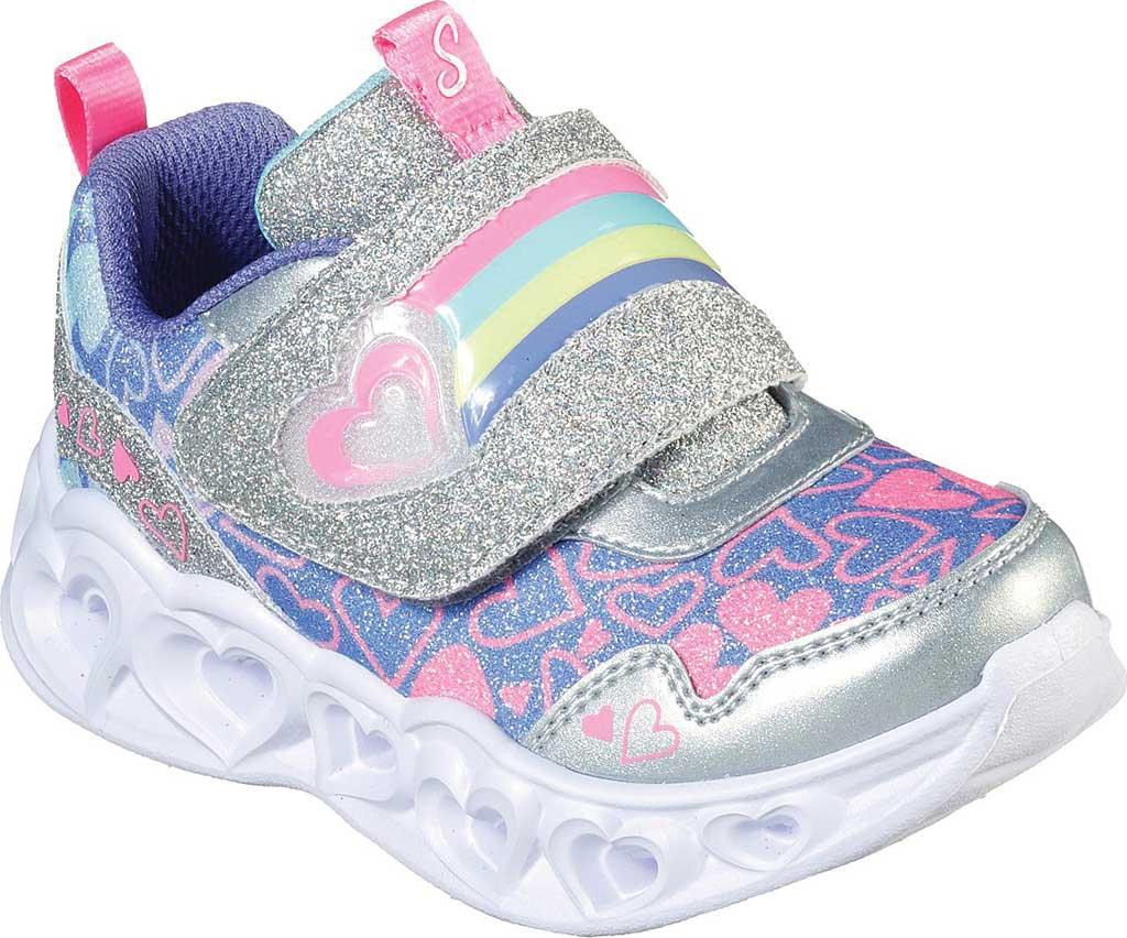 Infant Girls' Skechers S Lights Heart Lights Lovie Dovie Sneaker, Silver/Multi, large, image 1