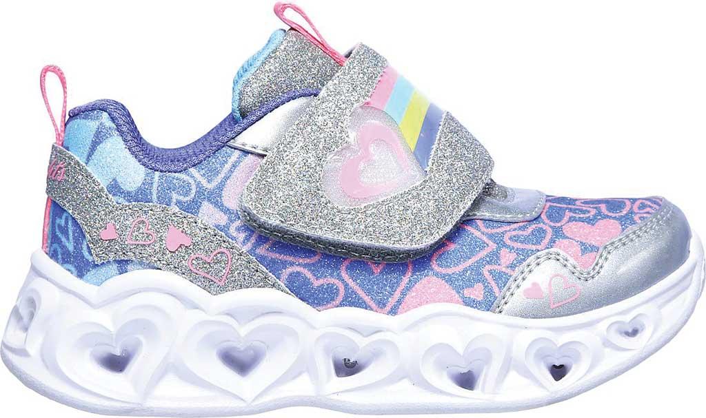 Infant Girls' Skechers S Lights Heart Lights Lovie Dovie Sneaker, Silver/Multi, large, image 2