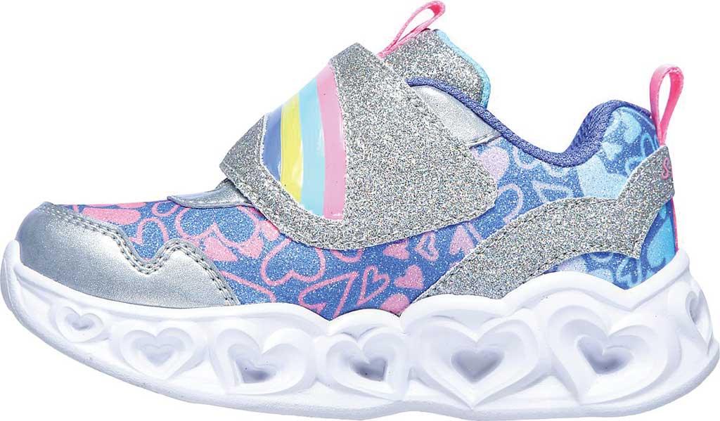 Infant Girls' Skechers S Lights Heart Lights Lovie Dovie Sneaker, Silver/Multi, large, image 3