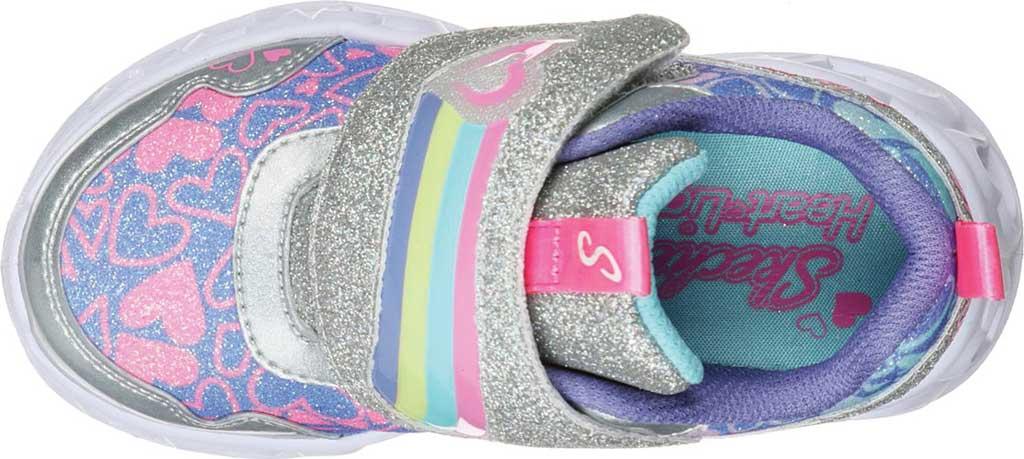 Infant Girls' Skechers S Lights Heart Lights Lovie Dovie Sneaker, Silver/Multi, large, image 4