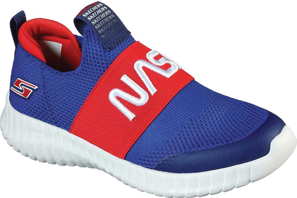 Boys' Skechers NASA Elite Flex Retro Rocket Sneaker, Blue/Red, large, image 1