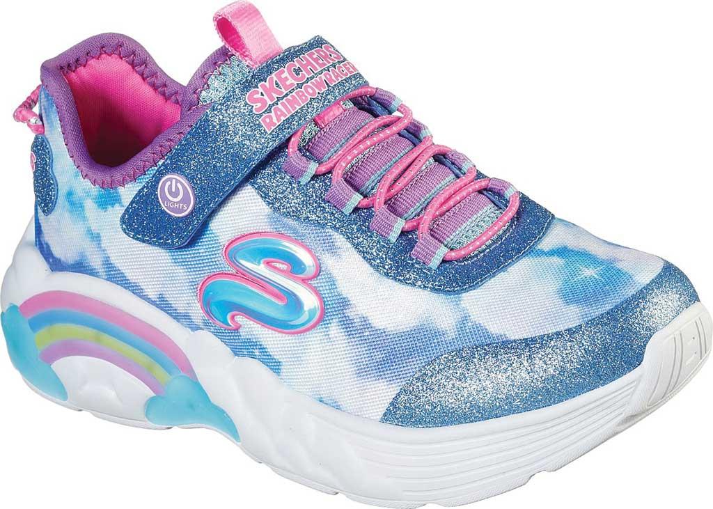 Girls' Skechers S Lights Rainbow Racer Sneaker, Blue, large, image 1