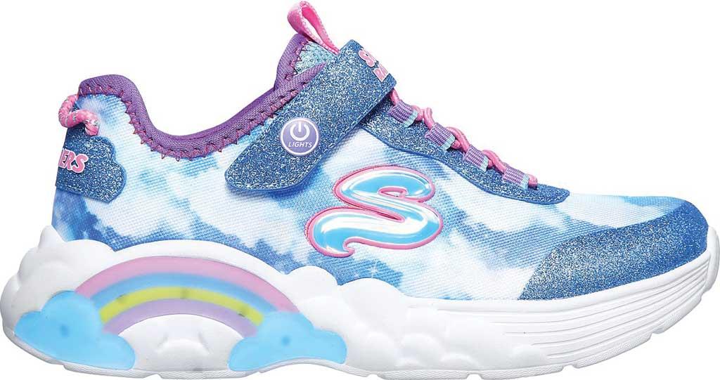 Girls' Skechers S Lights Rainbow Racer Sneaker, Blue, large, image 2