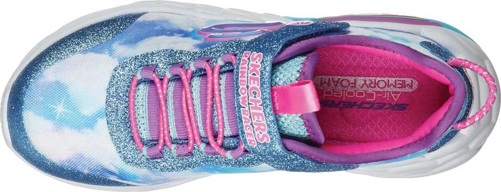 Girls' Skechers S Lights Rainbow Racer Sneaker, Blue, large, image 4