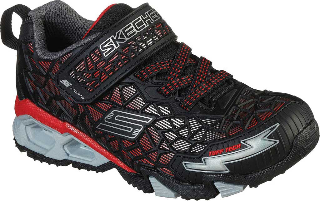 Boys' Skechers S Lights Hydro Lights Tuff Force Sneaker, Black/Red, large, image 1