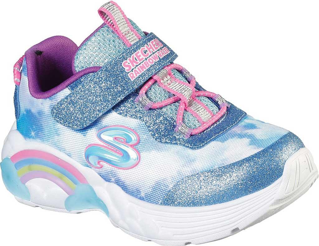 Infant Girls' Skechers S Lights Rainbow Racer Sneaker, Blue, large, image 1