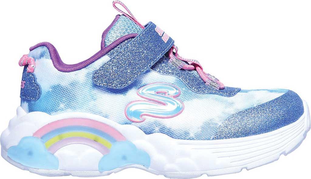 Infant Girls' Skechers S Lights Rainbow Racer Sneaker, Blue, large, image 2