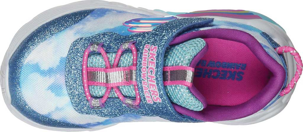 Infant Girls' Skechers S Lights Rainbow Racer Sneaker, Blue, large, image 4