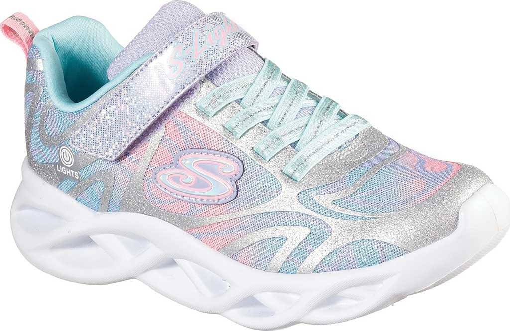 Girls' Skechers S Lights Twisty Brights Dazzle Flash Sneaker, Silver/Multi, large, image 1