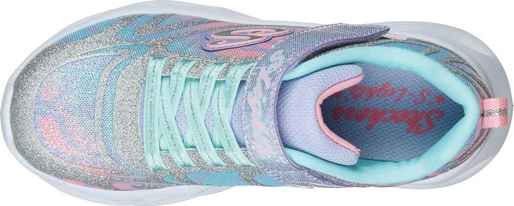 Girls' Skechers S Lights Twisty Brights Dazzle Flash Sneaker, Silver/Multi, large, image 4