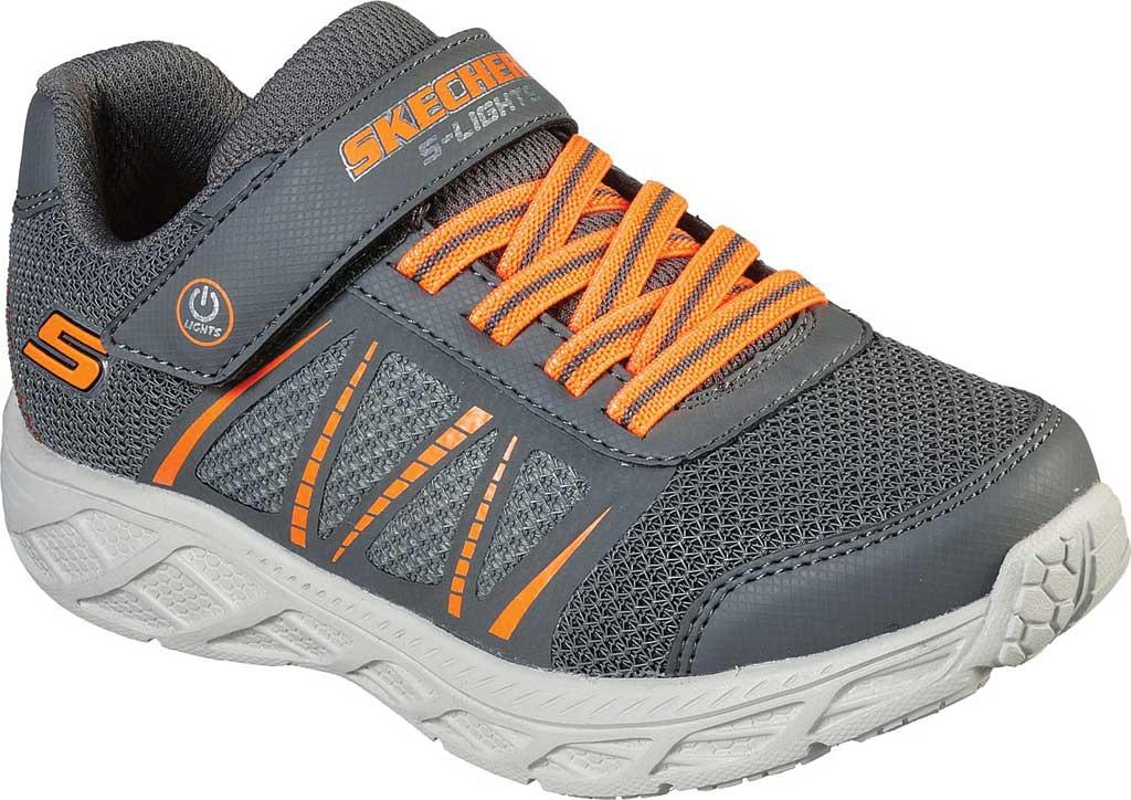 Boys' Skechers S Lights Dynamic-Flash Sneaker, Charcoal/Orange, large, image 1