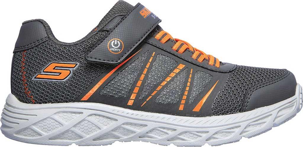 Boys' Skechers S Lights Dynamic-Flash Sneaker, Charcoal/Orange, large, image 2