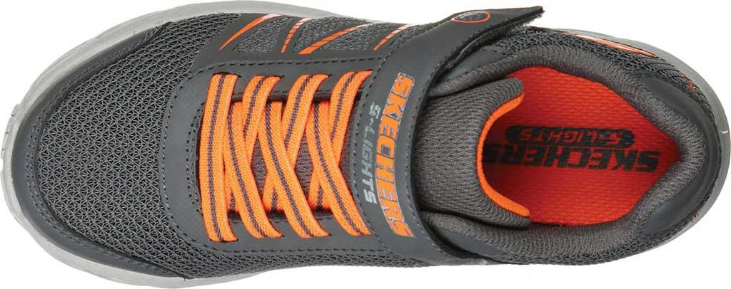 Boys' Skechers S Lights Dynamic-Flash Sneaker, Charcoal/Orange, large, image 4