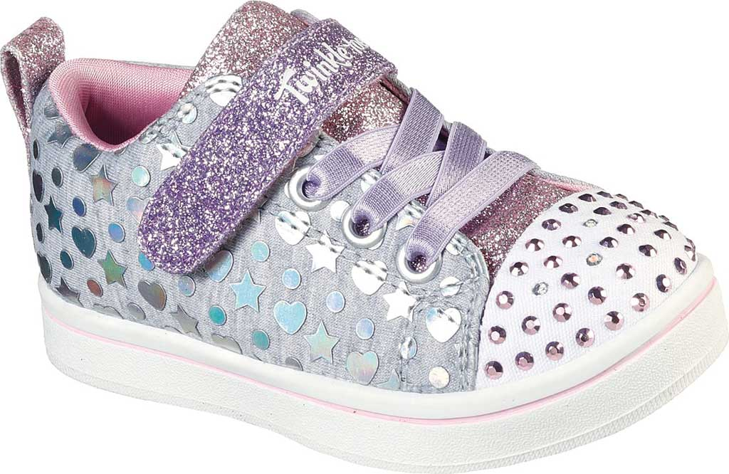 Infant Girls' Skechers Twinkle Toes Sparkle Rayz Heather & Shine Sneaker, Gray/Multi, large, image 1