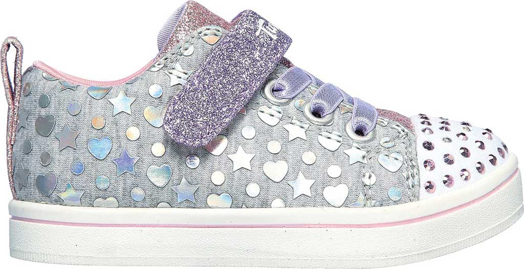 Infant Girls' Skechers Twinkle Toes Sparkle Rayz Heather & Shine Sneaker, Gray/Multi, large, image 2