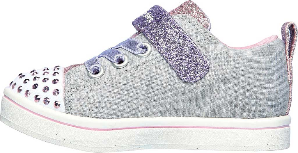 Infant Girls' Skechers Twinkle Toes Sparkle Rayz Heather & Shine Sneaker, Gray/Multi, large, image 3