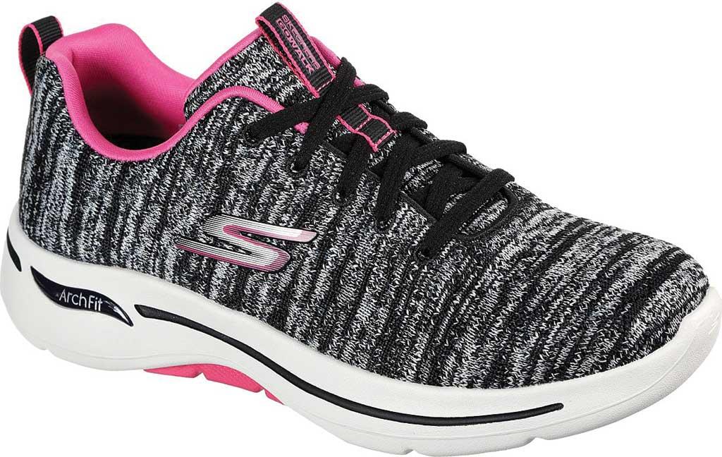 Women's Skechers GOwalk Arch Fit Glee Sneaker, Black/Hot Pink, large, image 1