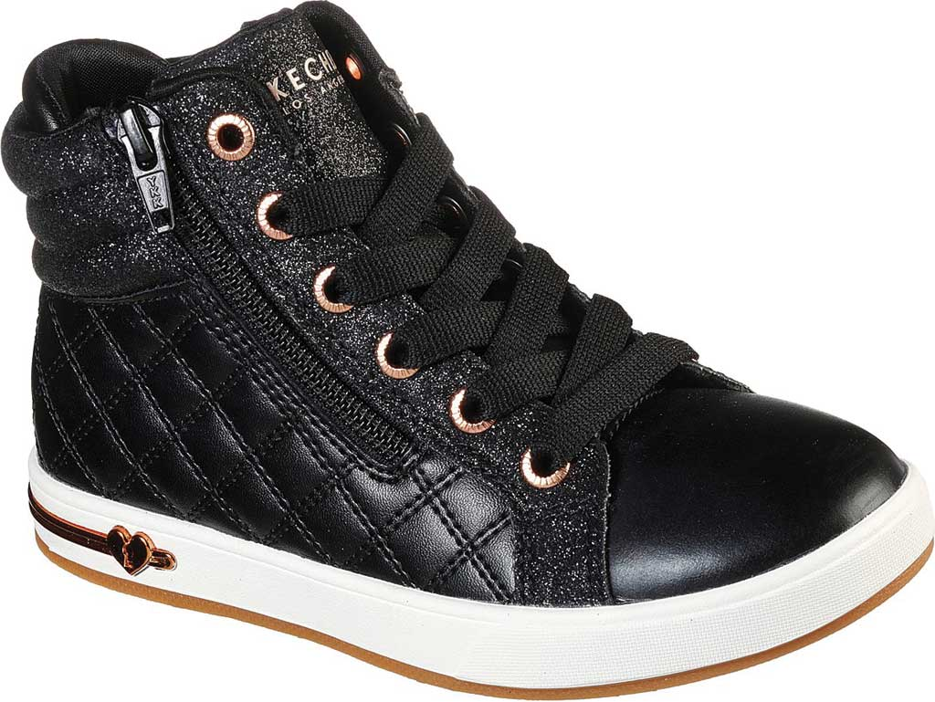 Girls' Skechers Shoutouts Quilted Squad Sneaker, Black/Rose Gold, large, image 1