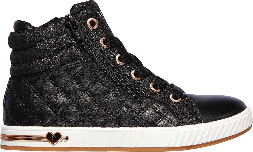 Girls' Skechers Shoutouts Quilted Squad Sneaker, Black/Rose Gold, large, image 2