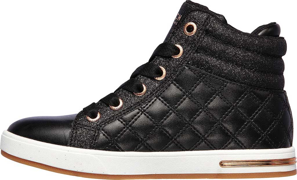 Girls' Skechers Shoutouts Quilted Squad Sneaker, Black/Rose Gold, large, image 3