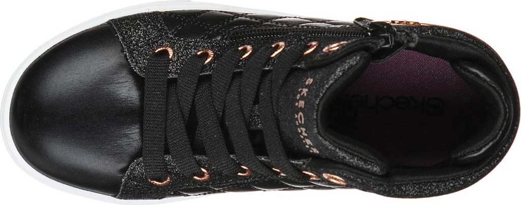 Girls' Skechers Shoutouts Quilted Squad Sneaker, Black/Rose Gold, large, image 4