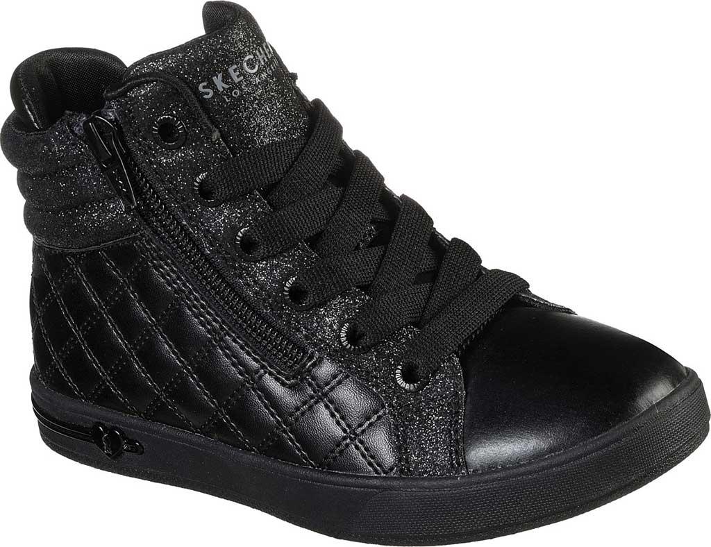 Girls' Skechers Shoutouts Quilted Squad Sneaker, Black/Black, large, image 1
