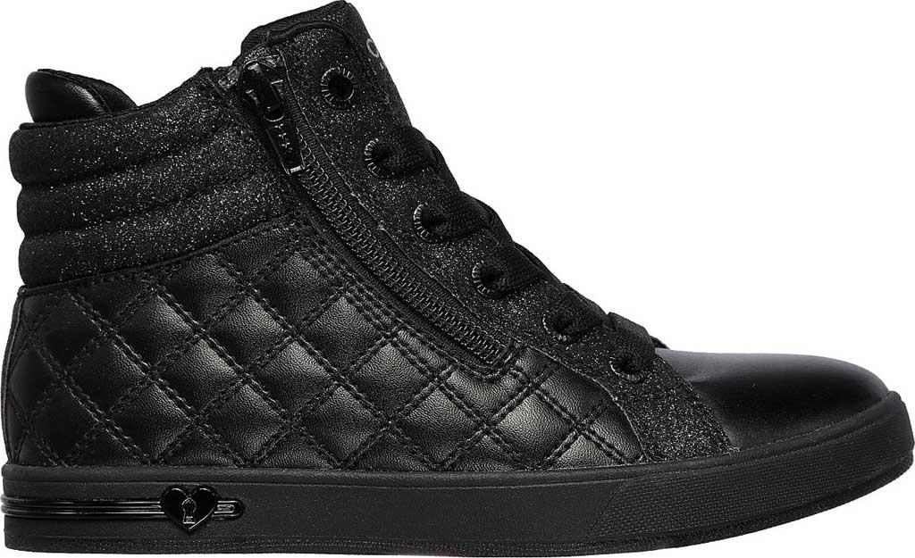 Girls' Skechers Shoutouts Quilted Squad Sneaker, Black/Black, large, image 2