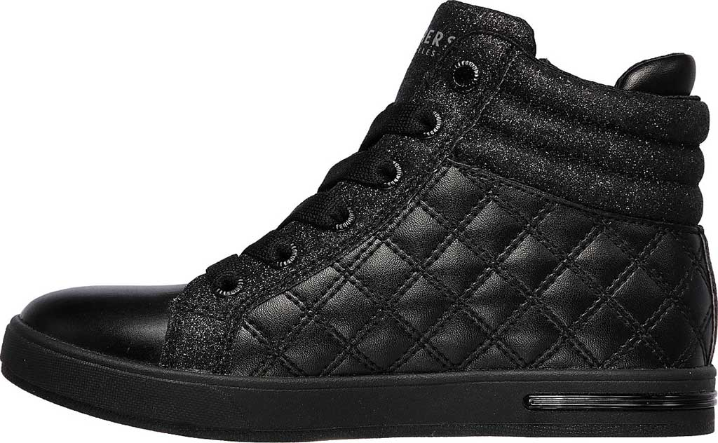 Girls' Skechers Shoutouts Quilted Squad Sneaker, Black/Black, large, image 3