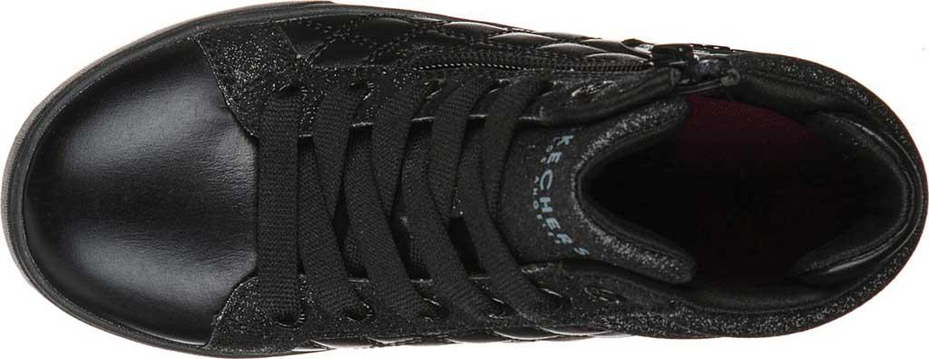 Girls' Skechers Shoutouts Quilted Squad Sneaker, Black/Black, large, image 4