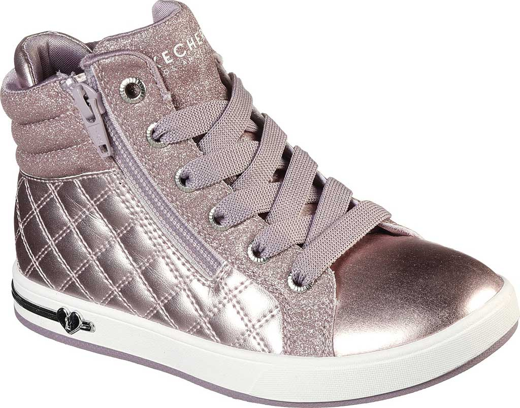 Girls' Skechers Shoutouts Quilted Squad Sneaker, Lavender, large, image 1