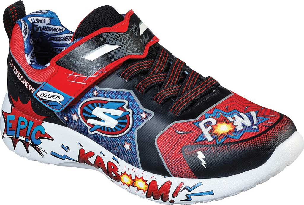 Boys' Skechers Dynamight Defender Squad Sneaker, Red/Black, large, image 1