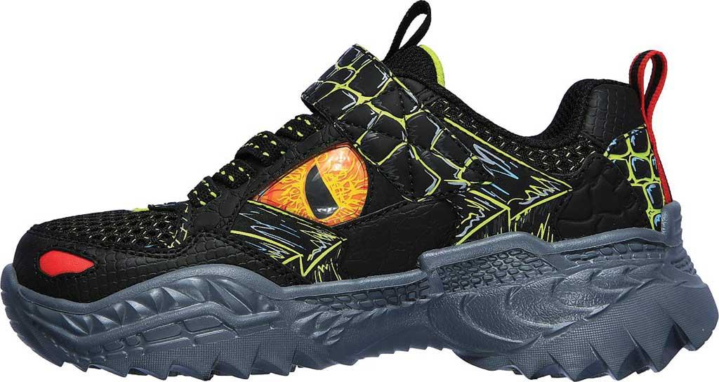 Boys' Skechers SkechOSaurus Sneaker, Black/Lime, large, image 3