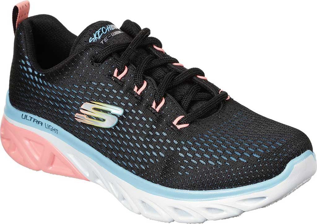 Women's Skechers Glide Step Sport Wave Heat Sneaker, Black/Blue/Light Pink, large, image 1