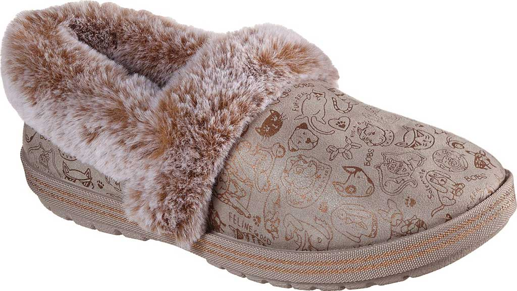 Women's Skechers BOBS Too Cozy Paws 2 Pawty Slipper, Taupe, large, image 1