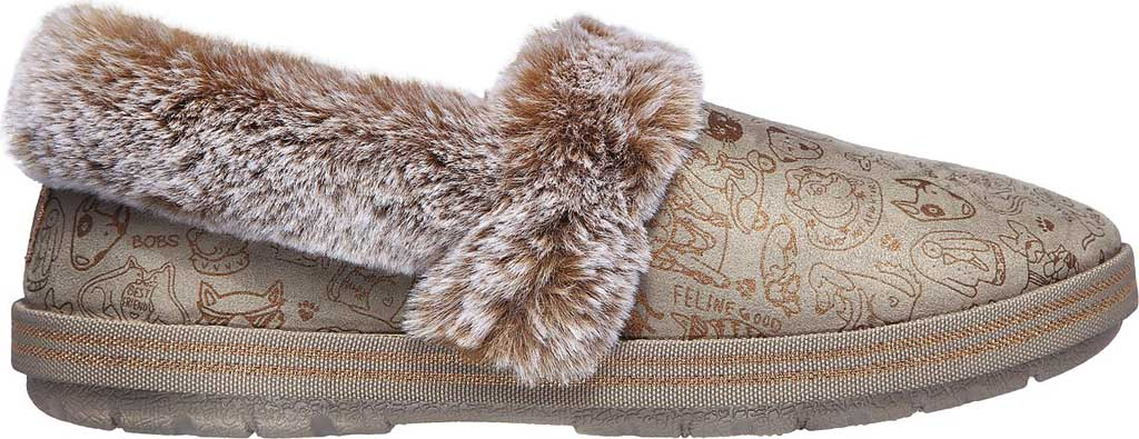 Women's Skechers BOBS Too Cozy Paws 2 Pawty Slipper, Taupe, large, image 2
