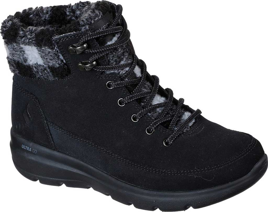 Women's Skechers On the GO Glacial Ultra Timber Winter Boot, Black/Gray, large, image 1