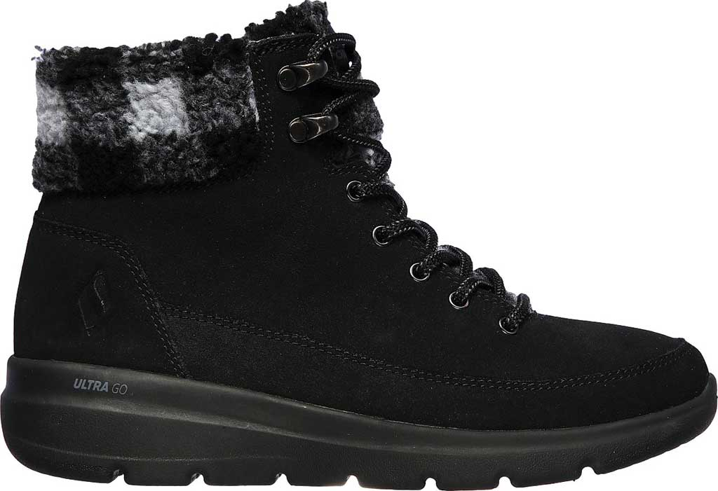 Women's Skechers On the GO Glacial Ultra Timber Winter Boot, Black/Gray, large, image 2