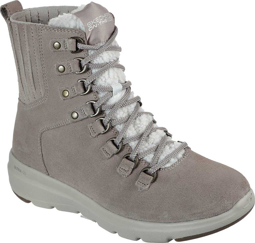 Women's Skechers On the GO Glacial Ultra Crusade Winter Boot, Dark Taupe, large, image 1