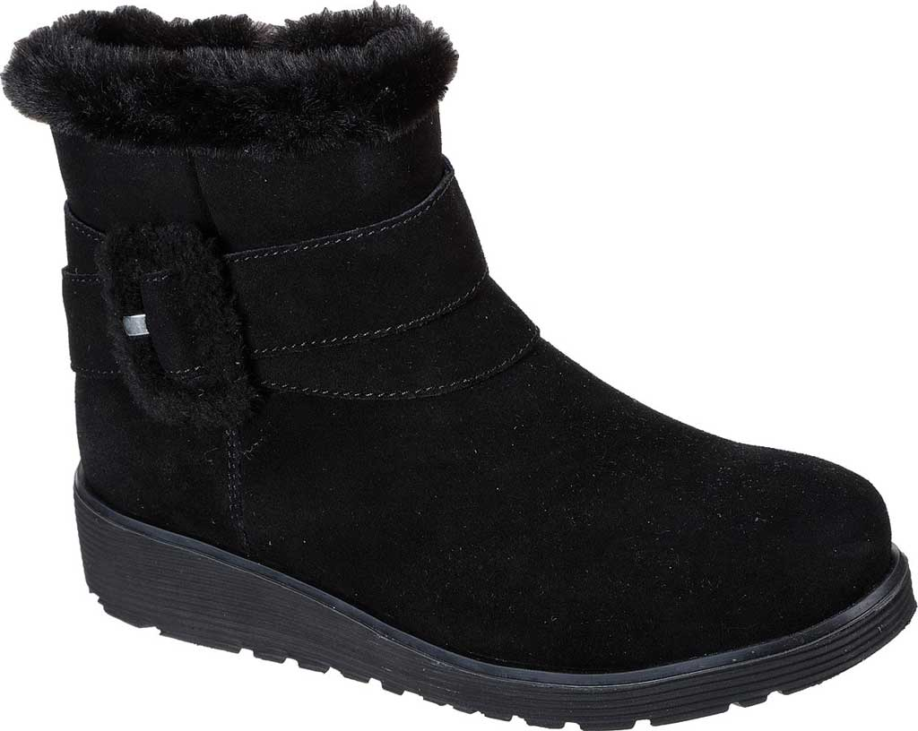 Women's Skechers Keepsakes Wedge Cozy Wraps Winter Boot, Black/Black, large, image 1