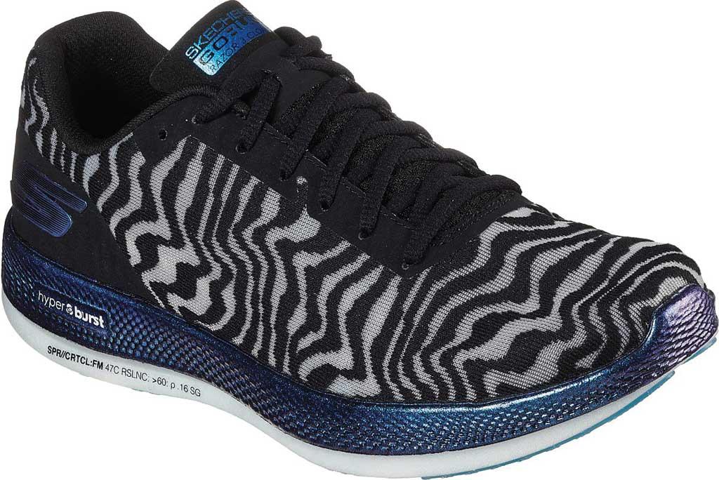 Women's Skechers GOrun Razor 3 Cloak Hyper Sneaker, Black/Blue, large, image 1