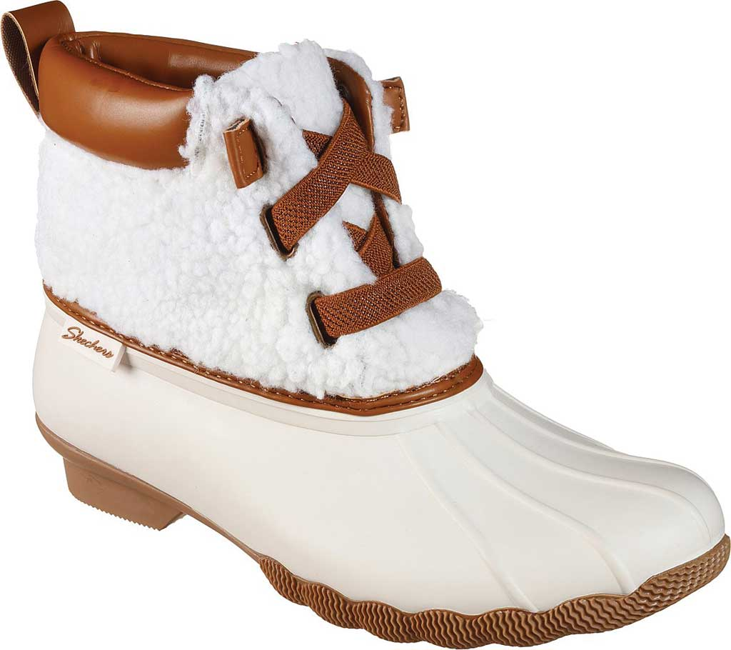 Women's Skechers Pond Sherpa Snuggle Duck Boot, Natural, large, image 1