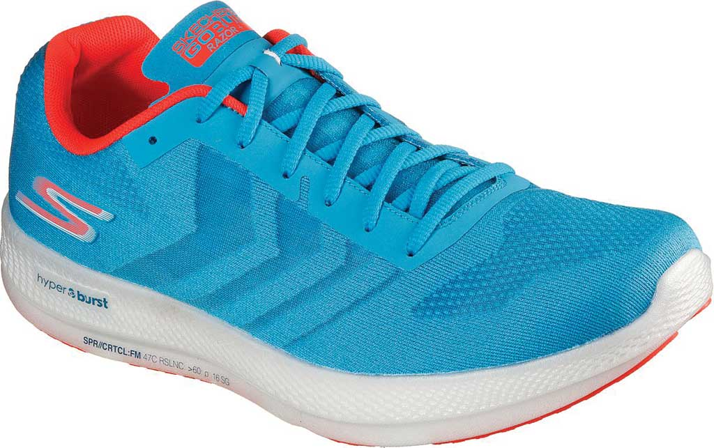 Men's Skechers GOrun Razor+, Blue/Coral, large, image 1