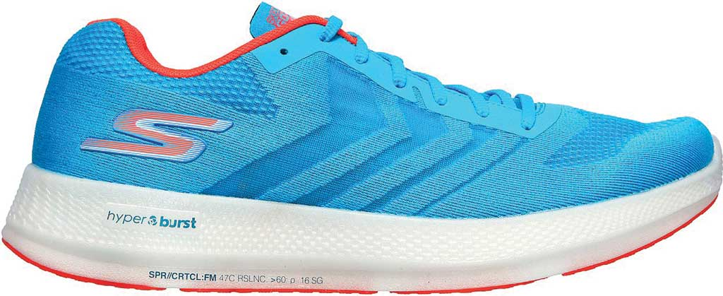 Men's Skechers GOrun Razor+, Blue/Coral, large, image 2