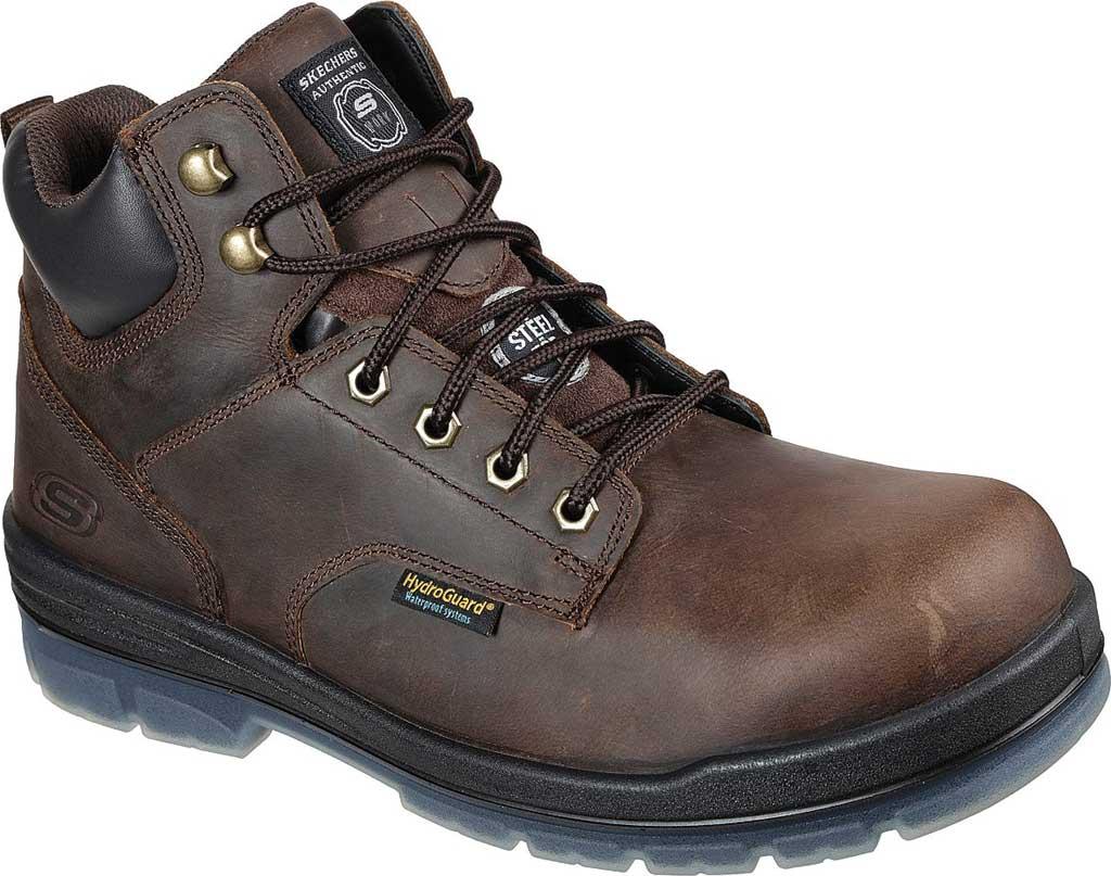 Men's Skechers Work Argum ST WP Boot, Chocolate Dark Brown, large, image 1