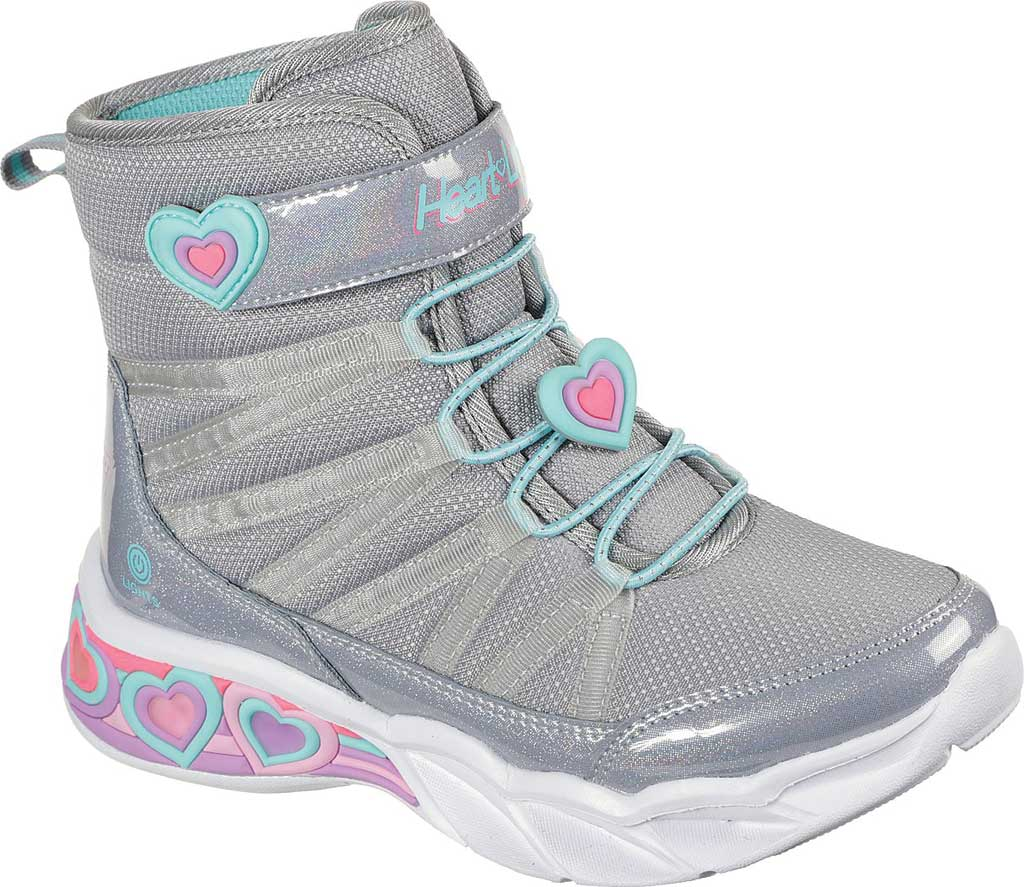 Girls' Skechers S Lights Sweetheart Lights Love to Shine Bootie, Grey/Aqua, large, image 1
