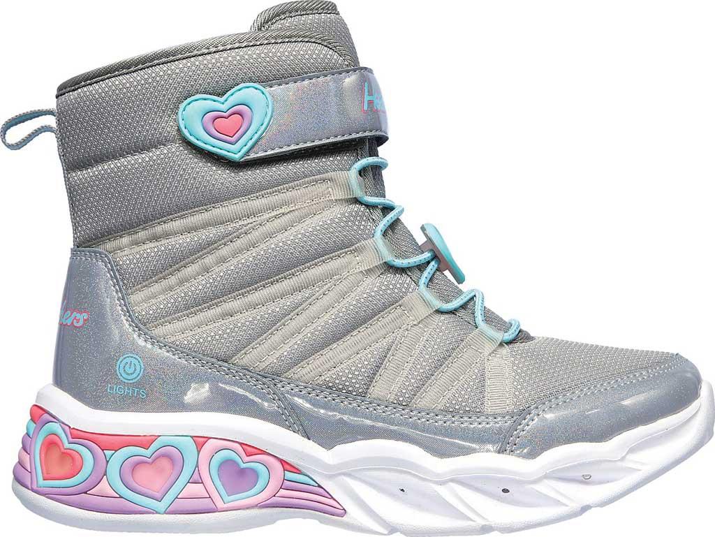 Girls' Skechers S Lights Sweetheart Lights Love to Shine Bootie, Grey/Aqua, large, image 2